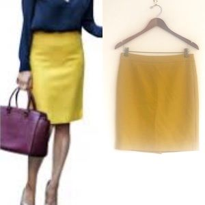 J Crew Mustard No 2 Double Serge Wool Pencil Skirt